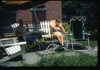 Pretty Woman Swimsuit Lawn Chair 1950s 35mm Slide Vtg Kodachrome Lancaster PA