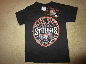 Sturgis Black Hills 2015 Motorcycle Rally Black Shirt Toddler XS X-Small NEW
