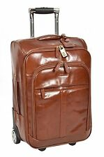Genuine Leather Cabin Suitcase Hand Luggage Business Bag on Wheels Chestnut
