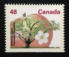 Canada #1363a Bottom CP MNH, McIntosh Apple Tree Definitive Booklet Stamp 1991