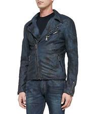Ralph Lauren Black Label Camo Biker Blue Leather Jacket Camouflage Motorcycle S