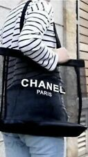 CHANEL Beauty BLACK MESH Beach Shoulder Shopper Tote Bag