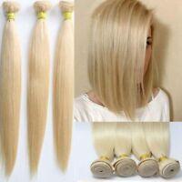#613 Blonde Straight Virgin Remy 100% Brazilian Human Hair Extensions Weft Women