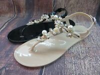 "Jelly Sandal ""MACON"" Women's Thong Flat Slingback w/Seashells by Ann More"