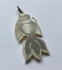 Sterling Silver 925 Mother Of Pearl Carved Fish Pendant Necklace Charm E