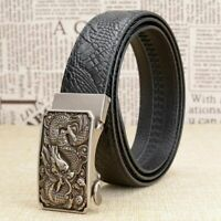 Men Belt Dragon Design Full Grain Automatic Buckle Genuine Leather Male Belts