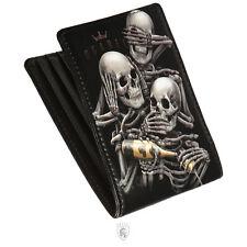 OGABEL OG Abel See No Skeleton Skull Tattoo Art 3 Monkeys Goth Wallet WTBF004