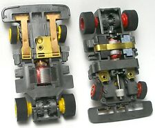 2 pc 1991 TYCO TCR Red& Yellow Wheel WIDE Slot less Car Chassis Left+ Right Lane