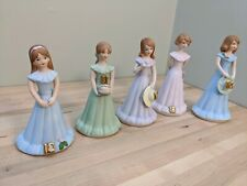 Enesco Growing Up Birthday girls figurines 1982 10 - 14 lot of 5 all brown hair