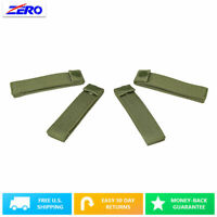 "Green 4"" Thumb Snap Straps 4 Pack MOLLE PALS Webbing Nylon Internal Stiffner"
