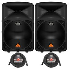 Behringer Eurolive B615D Active 2-Way PA Speaker Pair + (2) 20 ft XLR Cables