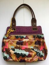 Fossil Key Purse Coated Canvas Floral Leather Tote Shoulder Bag Satchel Purple