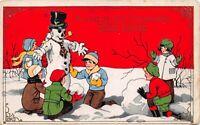 Happy New Year Postcard Children Building a Snowman~123007