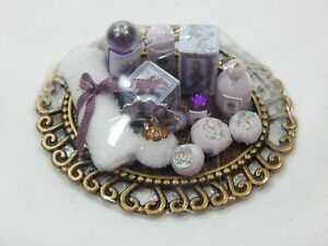 Dollhouse Miniature 1:12 Scale Vanity Tray Lotion Perfume Bottles #Z301 Purple
