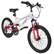 "Muddyfox Energy 20"" Girls Dual Suspension Mountain Bike in White & Pink - 6 Spd"