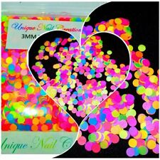 Solvent Resistant 3MM DOT Shape Mixed Neon~Nail Art/Acrylic/Gel/Slime/Craft~USA