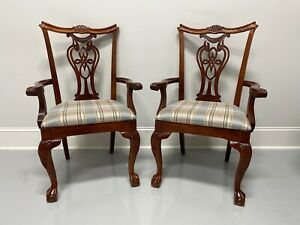 PENNSYLVANIA HOUSE Cherry Chippendale Ball in Claw Dining Armchairs - Pair
