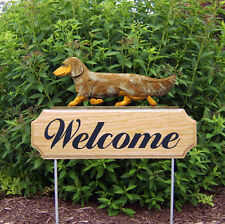 Dachshund Long Hair Dog Breed Oak Wood Welcome Outdoor Yard Sign Red Dapple