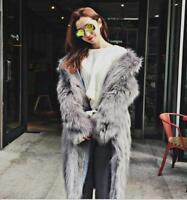 Women Faux Fur Winter Warm Collar Outwear Long Thick Coat Overcoat Jacket Parkas