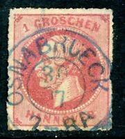 Germany 1864 Hannover 1gr Rose SG # 37 VFU I16
