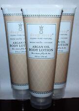 Lot Of 3 Deep Steep ARGAN OIL Body Lotion With Warm Vanilla & Coconut 8 oz Ea *