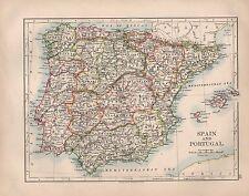1897 mapa España & Portugal Victoriano ~ ~ Islas Baleares Málaga Granada