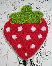 RED STRAWBERRY SEW ON WOVEN LABEL PATCH - KIDS CUSTOMISE DIY CRAFTS