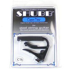Shubb C1k Noir Black Chrome Capo for 6-string Guitar, NEW ROLLER DESIGN
