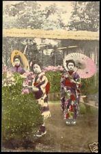 japan, 3 Beautiful GEISHA Ladies Parasol KIMONO (1920)