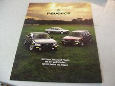 1985 PEUGEOT 505 Turbo Sedan and Wagon 505 STI,505 GL Brochure