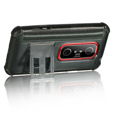 HTC EVO 3D SPRINT PCS FUSION HYBRID CASE WITH KICKSTAND BLACK