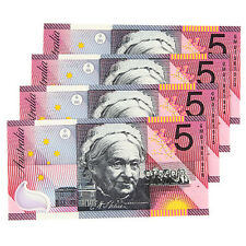 2001 Australia Federation $5 Notes sequential serial Lot of 4pcs