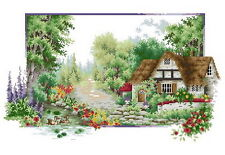 14 count aida needlepoint cross stitch landscape kit with colorful chart J068