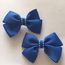 Pair Of Royal Blue Big Bow Hair Clips/aligator Clip/schools Uniform