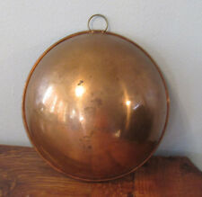 "DURO Copper Hanging round bottom Mixing Bowl w Brass PORTUGAL B 8 M B & M 9"""