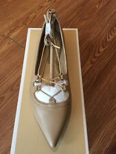 NIB $135 Michael Kors Tabby Nude Leather Lace-up Flats Sz 7M