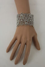New Women Wrist Cuff Bracelet Silver Metal Mesh Lace Filigree Wide Bangle Fierce