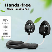 Portable Dual Cooling Fan USB Neckband Lazy Neck Hanging Style   ~