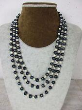 sehr lange Perlenkette schwarze Tahiti Perlen einzeln geknotet 100% Natur 168cm
