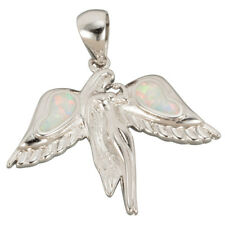 White Fire Opal Inlay Silver Jewellery Angel Pendant for Necklace