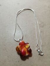 Handmade Charm Child's Necklace, Flower Bead, Chain 14 Inches Approx,