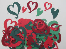50 Heart Cut-outs, Variety Shapes, Sizes, Colours, Christmas Cards, Decorations