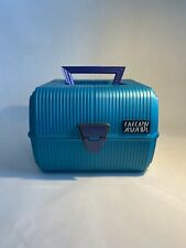 Vintage Sassaby Teal Make Up Storage Train Case  Jewelry Box Organizer Crafts