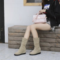 Womens Mid Calf Boots Round Toe Hidden Wedge Heel Suede Shoes Fashion Booties