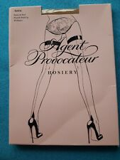 """agent provocateur hosiery """"astra"""" hold up Beige black stockings thigh high small"""