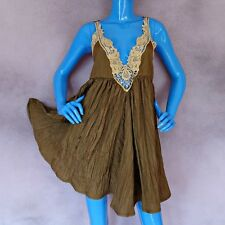 Free People Breathless Summer Dress M 8 10 12 Mini Open Caged Back Hippie Brown