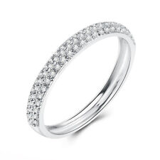 Natural Diamonds Band Ring Solid 10K White Gold Engagement Wedding Fine Jewelry