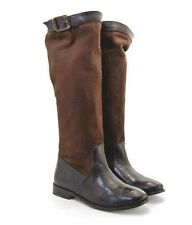 FRYE SHOES PAIGE CANVAS TALL BOOTS DARK BROWN 77538 RARE 9
