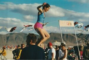 BOUNCING GIRL Burning Man 1990's FOUND PHOTO Color FREE SHIPPING Pretty 96 7 Q