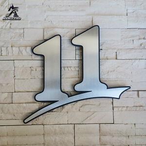 Edelstahl Hausnummer 11, 17cm,20cm,30cm,1-999,abcde, anthrazitgraues Acrylglas
